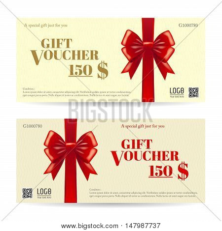 Elegant gift card or gift voucher template with shiny red bows and ribbons vector