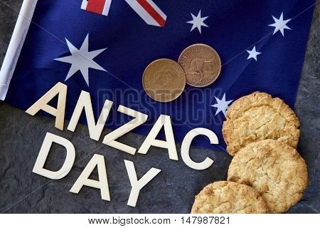 Anzac Day (25 April) in Australia and New Zealand with pennies and Anzac biscuits.