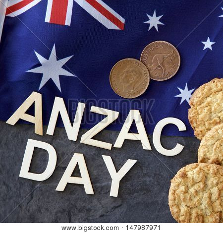 Anzac Day (25 April) in Australia and New Zealand with pennies and Anzac biscuits. poster