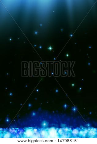 Blue dark bokeh abstract light background, vector