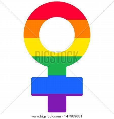 Lesbian woman rainbow isolated vector symbol, gay flag