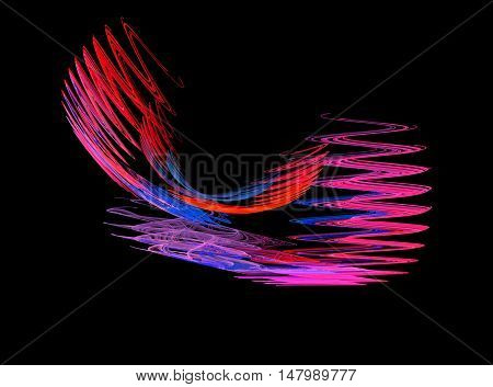 Abstract red zigzag fractal on black background
