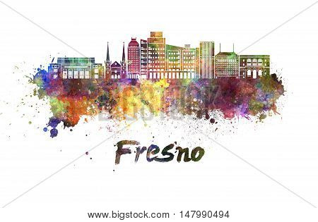 Fresno skyline in watercolor splatters with clipping path