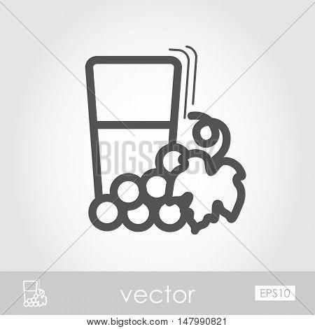 Glass of fresh grape juice outline icon. Harvest. Thanksgiving vector illustration eps 10