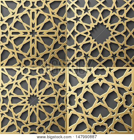 Islamic Pattern Gold Seamless Arabic Geometric East Ornament Indian Persian