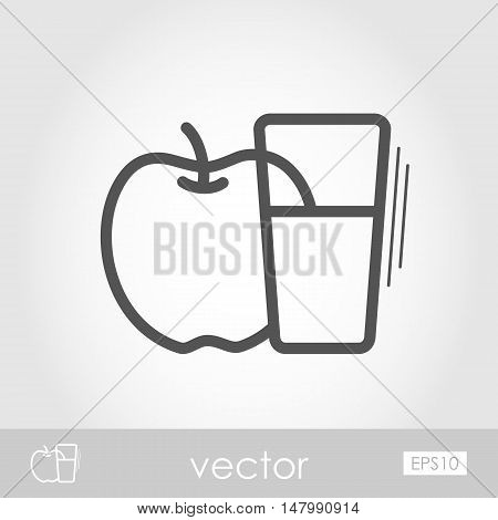 Glass of fresh apple juice outline icon. Harvest. Thanksgiving vector illustration eps 10