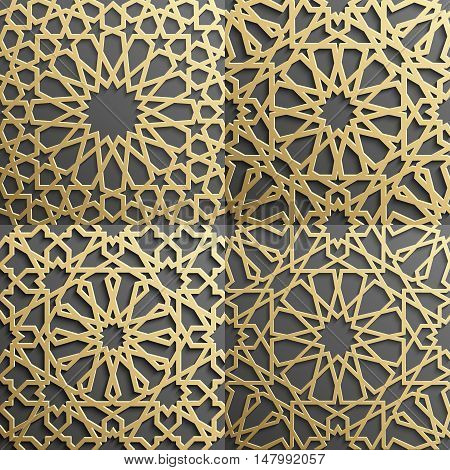 Islamic pattern. Gold Seamless arabic geometric pattern, east ornament, indian ornament, persian motif, 3D. Endless texture can be used for wallpaper, pattern fills, web page background .