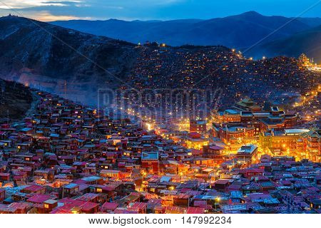 Top view night scene at Larung gar (Buddhist Academy) in Sichuan China