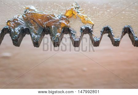Closeup grease for lubrication at the old metal gate of house textured background poster