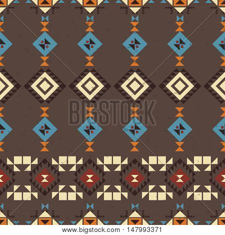 Geometric ethnic seamless pattern. Abstract aztec vector background. Tribal ornament.