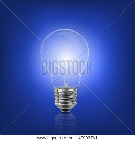 file representing a light bulb isolated on a blue background