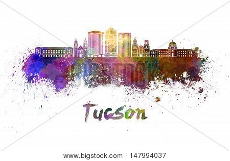 Tucson V2 skyline in watercolor splatters with clipping path