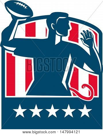 Illustration of a flag football player QB passing ball viewed from the side set inside shield crest with usa american stars and stripes flag in the background done in retro style.