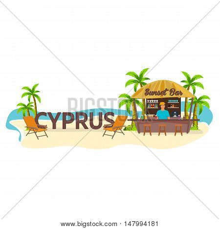Beach Bar. Cyprus. Travel. Palm, Drink, Summer, Lounge Chair, Tropical.