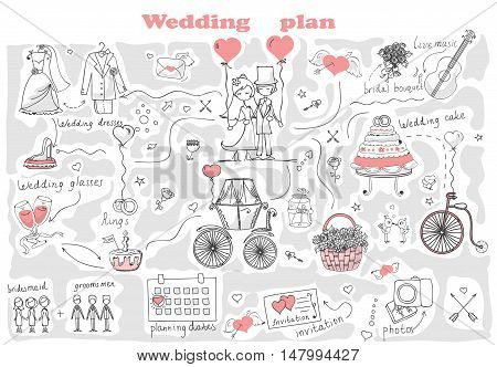 Doodle line design of web banner template with outline cartoon wedding icons. Wedding Planner Icons and Infographics.