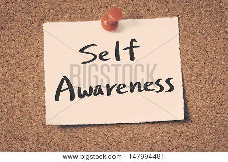 Self Awareness note pin on the bulletin board