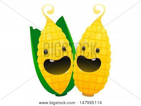 two corn cartoon character bright juicy on a white background isolated