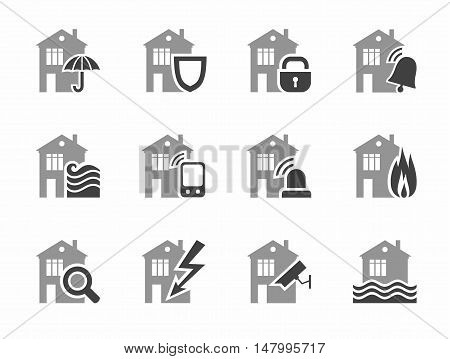Home security systems, home insurance, flat icons. Threat to the security of residential and work premises. Vector gray icons on white background.