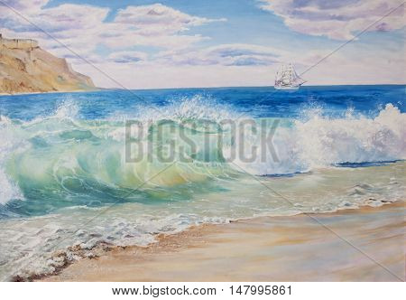 Beautiful blue tropical sea and beach. oil painting