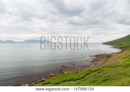 nature and landscape concept - view to ocean at wild atlantic way in ireland