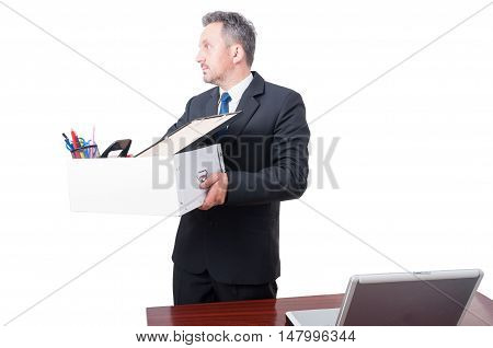 Unemployed Worker Taking Box From Office