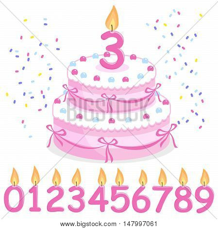 Pink birthday cake, confetti, ribbons and candles