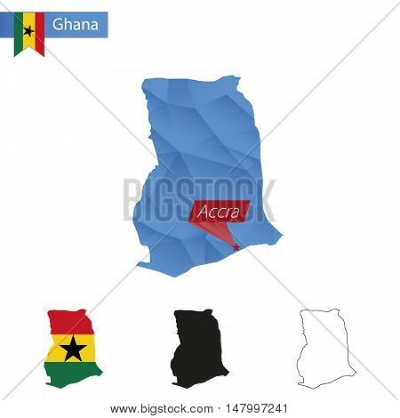 Ghana Blue Low Poly Map With Capital Accra.
