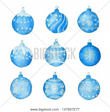 Set with watercolor Christmas blue balls isolated on white background. Drawn by hand.