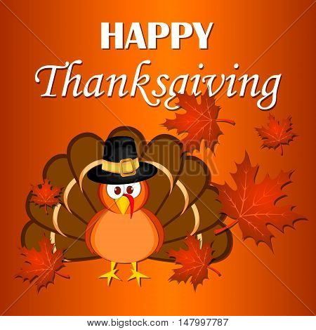 Beautiful cartoon turkey bird. Happy Thanksgiving celebration. Orange background. Usable as poster banner or postcar