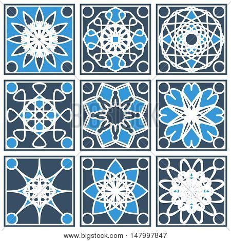 Patterns set with arabic geometric ornaments. Vector collection