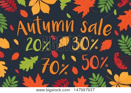 Autumn sale. Up to 30%, 50%, 70% off. Fall of the leaves. Vector.