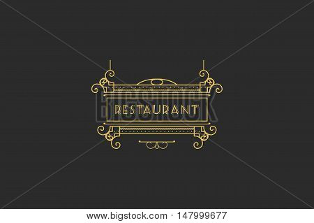 Vintage signboard for outdoor advertising of cafe or restaurant. Vector retro lineart design