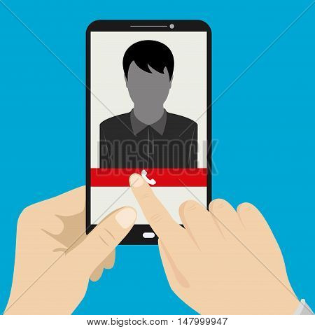 Hand holding smartphone with male silhouette icon on the screen vector illustration