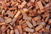 group of red bricks square construction materials poster