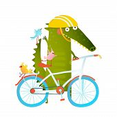 Funny crocodile with bicycle and colorful birdies. Cute wild bicyclist. Isolated cartoon character for children books, greeting cards and other design projects. Vector illustration poster