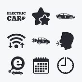 Electric car icons. Sedan and Hatchback transport symbols. Eco fuel vehicles signs. Wifi internet, favorite stars, calendar and clock. Talking head. Vector poster