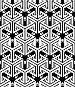 Regular contrast endless pattern with intertwine three-dimensional figures continuous illusory geometric background. poster