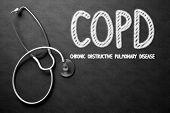 Medical Concept: COPD - Chronic Obstructive Pulmonary Disease on Black Chalkboard. Medical Concept: COPD - Chronic Obstructive Pulmonary Disease - Medical Concept on Black Chalkboard. 3D Rendering. poster