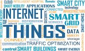 Internet of Things (IOT) word cloud concept. Cloud of relevant words illustrating Internet of Things concept poster