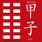 Symbol of i ching hexagram from chinese hieroglyphs. Translation of 12 zodiac feng shui signs hieroglyphs- wood and rat. poster