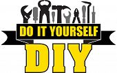 DIY do it yourself banner with silhouettes of workers tools: hammer screwdriver pliers file soldering iron pliers awl etc. poster