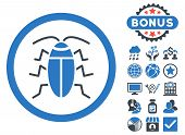 Cockroach icon with bonus images. Vector illustration style is flat iconic bicolor symbols, smooth blue colors, white background. poster