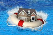 House market crisis represented by house and life preserver crashing on water poster