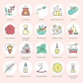 Modern vector line icons of aromatherapy and essential oils. Elements - aromatherapy diffuser oil burner spa candles incense sticks. Linear pictogram for aromatherapy salon. poster