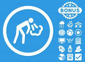Cough icon with bonus design elements. Vector illustration style is flat iconic symbols, white color, blue background. poster