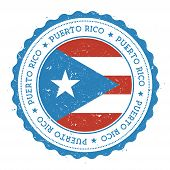 Grunge rubber stamp with Puerto Rico flag. Vintage travel stamp with circular text stars and national flag inside it. Vector illustration. poster