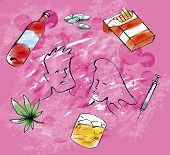 A picture with drug related items with pink background poster