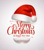 Merry christmas title typography vector concept in red with christmas hat and santa white beard in a white snow background. Vector illustration poster