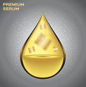 Premium gold shining serum droplet. Vector illustration , gold sheet inside the drop serum perfume poster