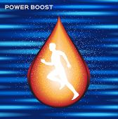 sport energy boost serum , energy boost drop vector , log and icon poster
